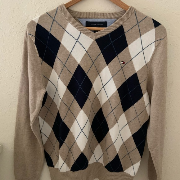 NWT Tommy Hilfiger Men/'s Argyle All Cotton Pullover V-Neck Sweater All Sizes NEW